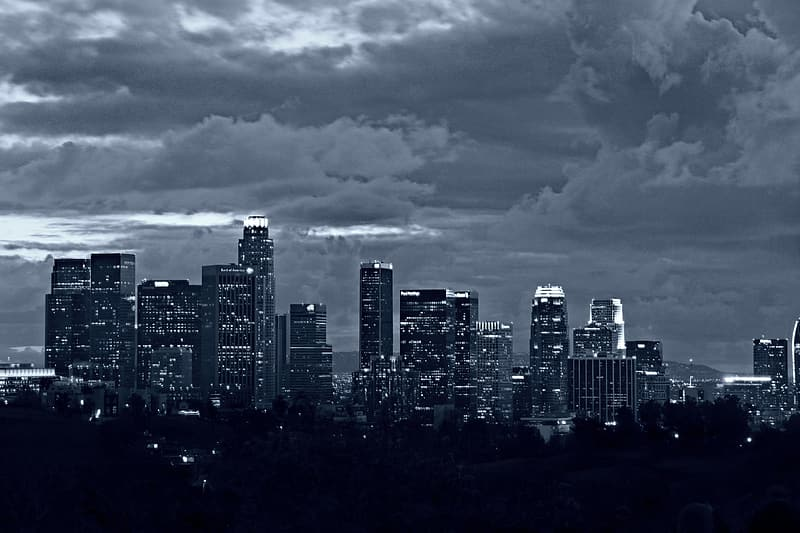 Grayscale and aerial view photography of city