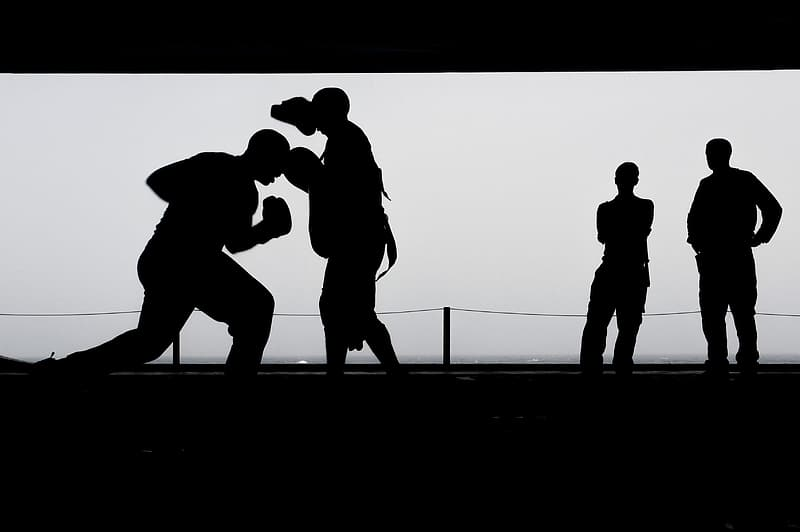 Silhouette of boxer training