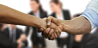 Two people shaking hands in selective focus photography