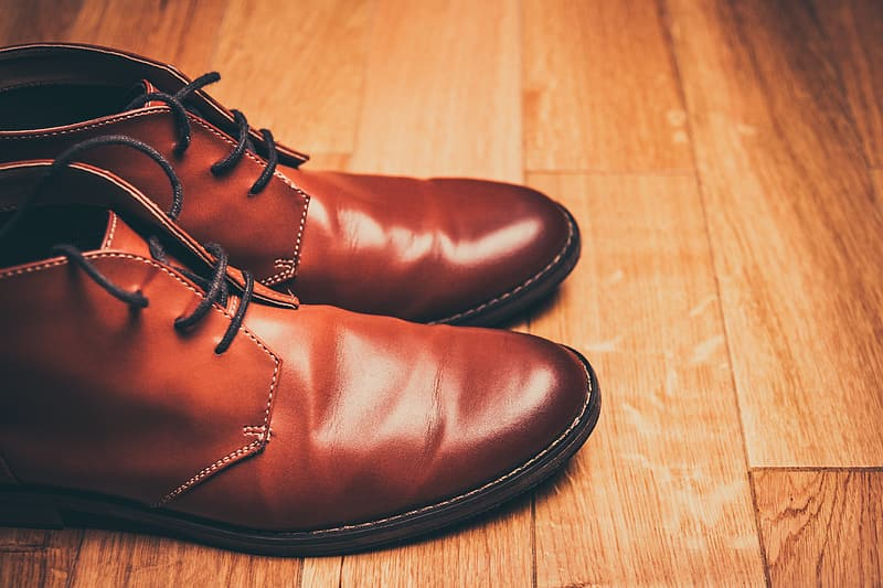 Pair of brown leather chukka boots