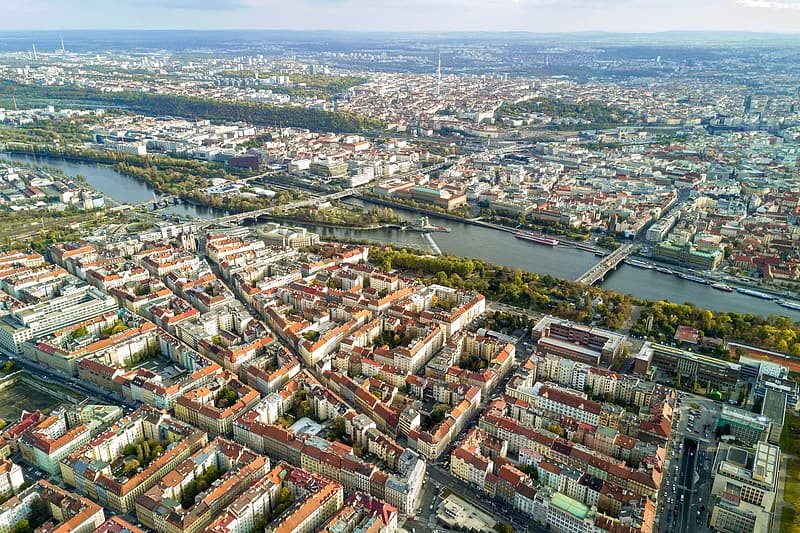 Amazing view on the historic city of Prague. Aerial view.