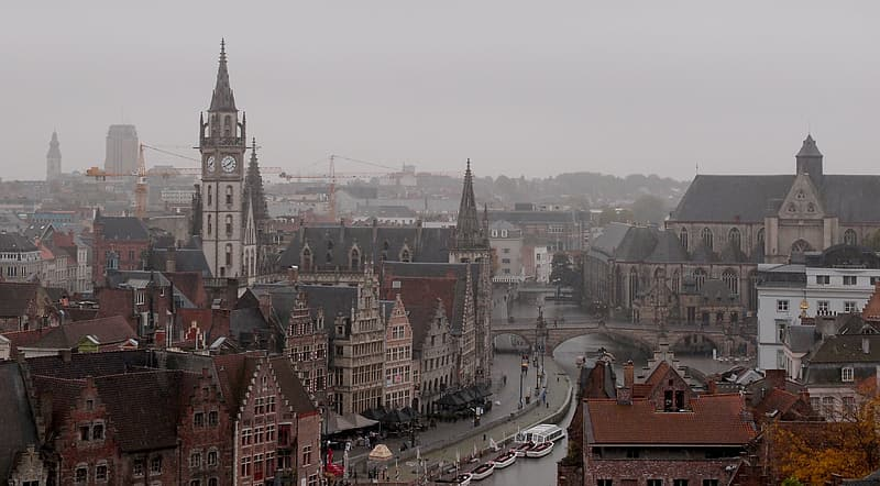 Birds eye view of town during fog weather