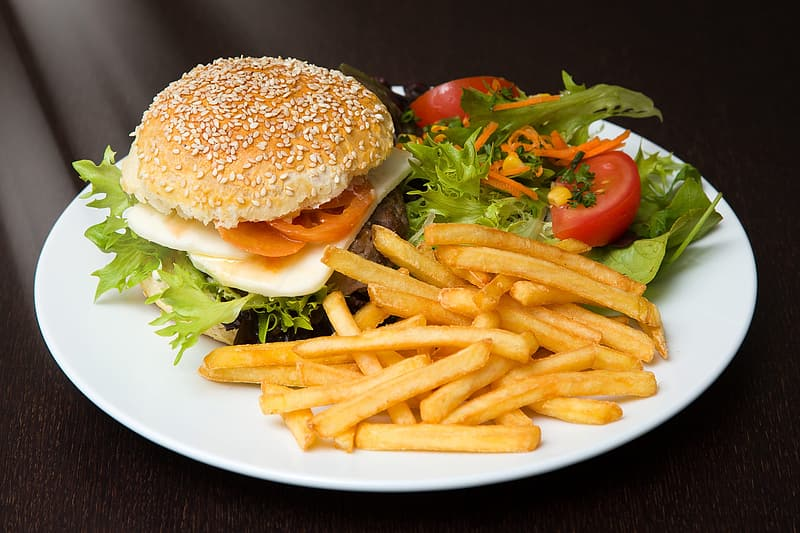 Hamburger and fries with sliced tomato and lettuce filled white plate