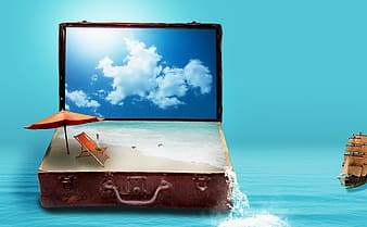 Brown suit case with sand and beach waters afar brown ship miniature