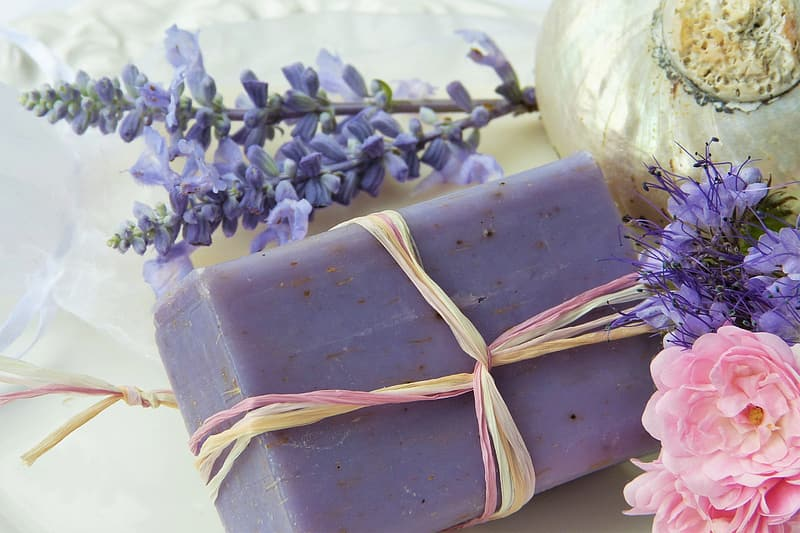 Purple soap bar with flowers