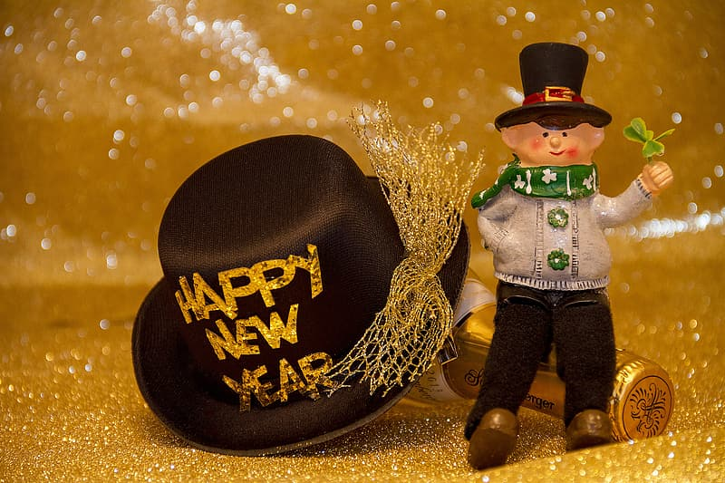 Happy New Year ceramic figurine