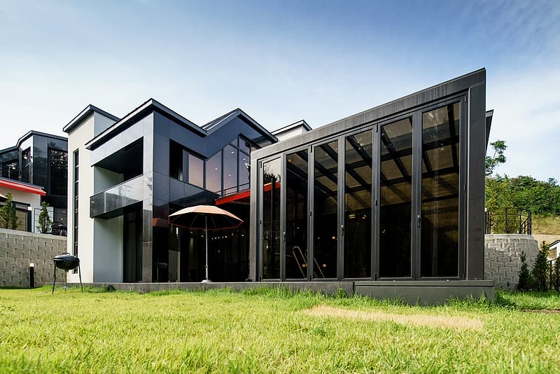 Gray and black 2-storey house