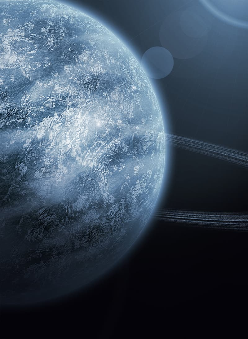 Blue and gray planet
