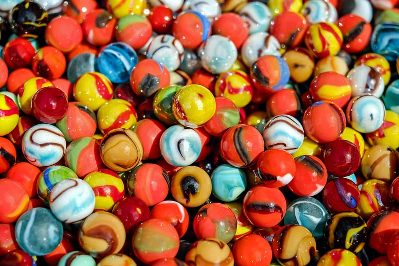 Assorted-color marble ball toy lot