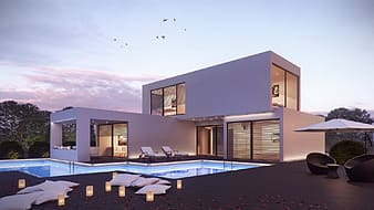 White and brown concrete mansion