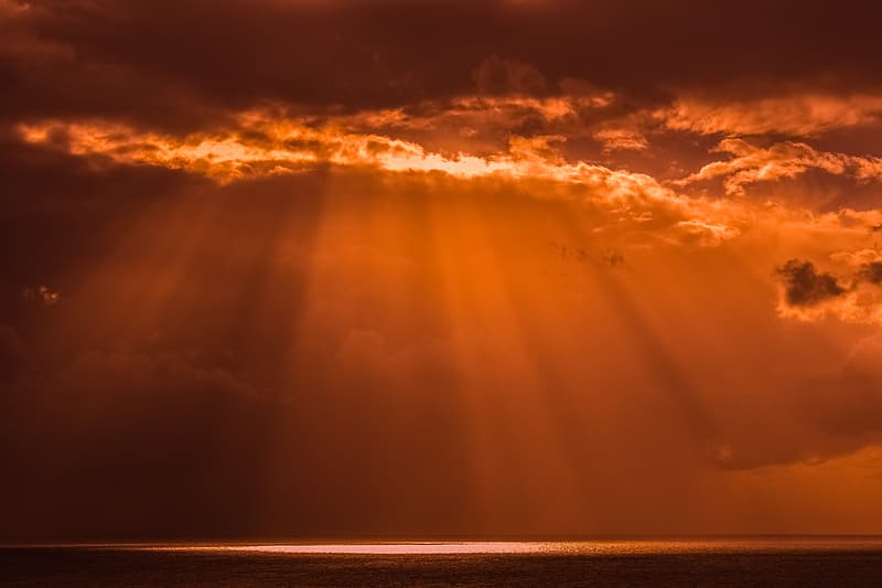 Crepuscular rays during golden hour