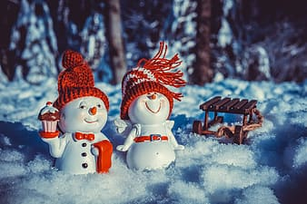 Snowman with red knit cap and scarf