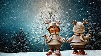 Two snowman holding pole during winter season