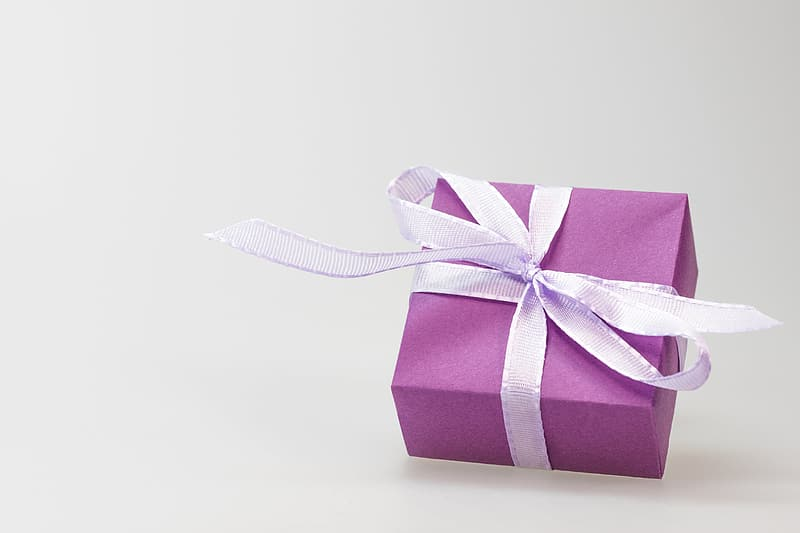 Purple box with white ribbon