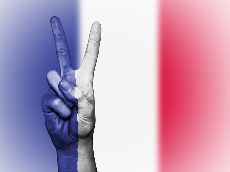 Peace sign with flag