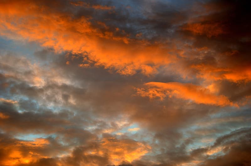 sky, clouds, sunset, afterglow, abendstimmung, evening sky, cloud - sky, dramatic sky, orange color, beauty in nature