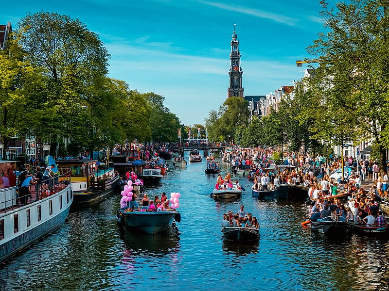 Boats on canals of Amsterdam