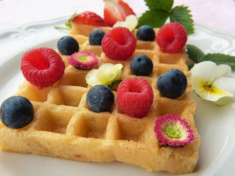 Raspberry and blueberry on waffle