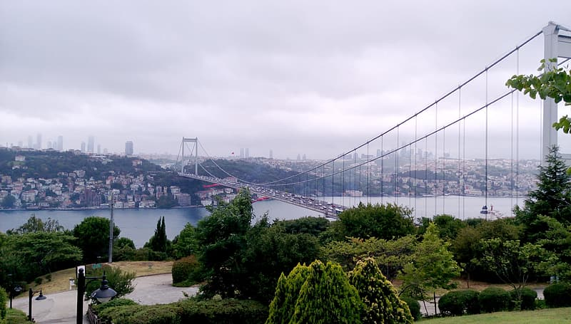White suspension bridge connecting city and downtown