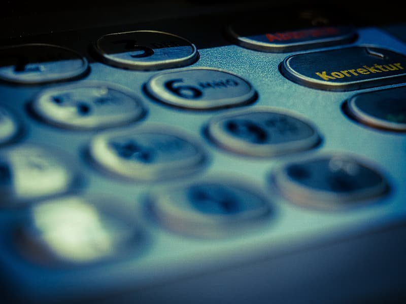 Selective focus photography of telephone buttons