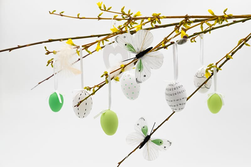 White and green balloons on yellow leaves