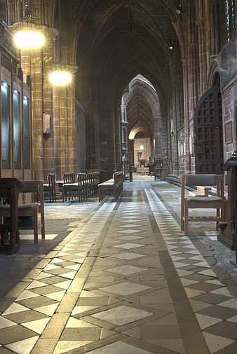 Narrow pathway of church
