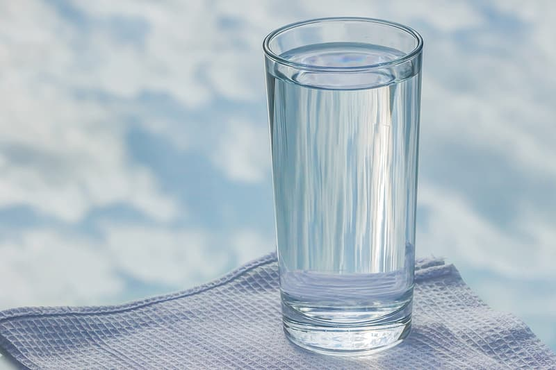 Close-up photo of glass full of water