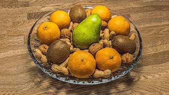 Assorted fruit in glass bowl