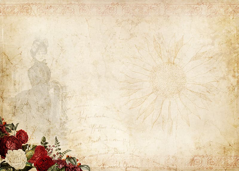 Red roses and white flower painting