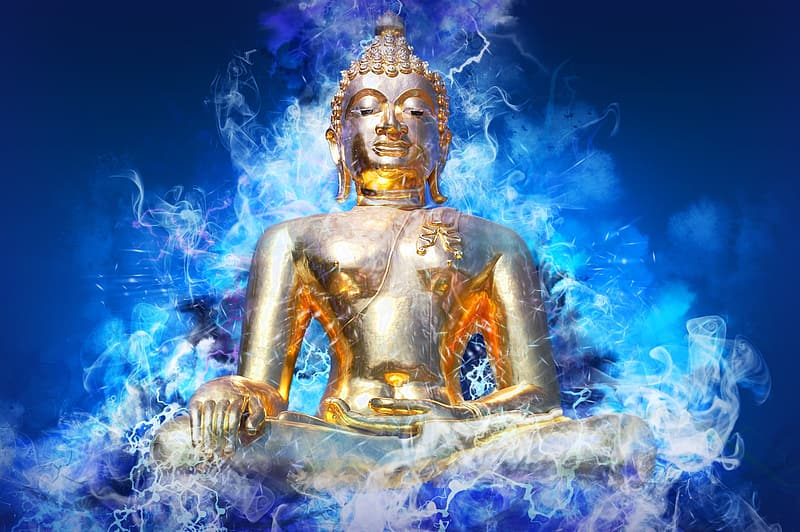 Gold hindu deity statue with blue and white background
