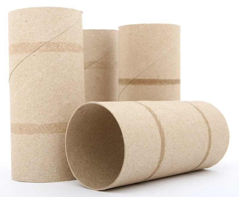 Four brown tissue roll reels