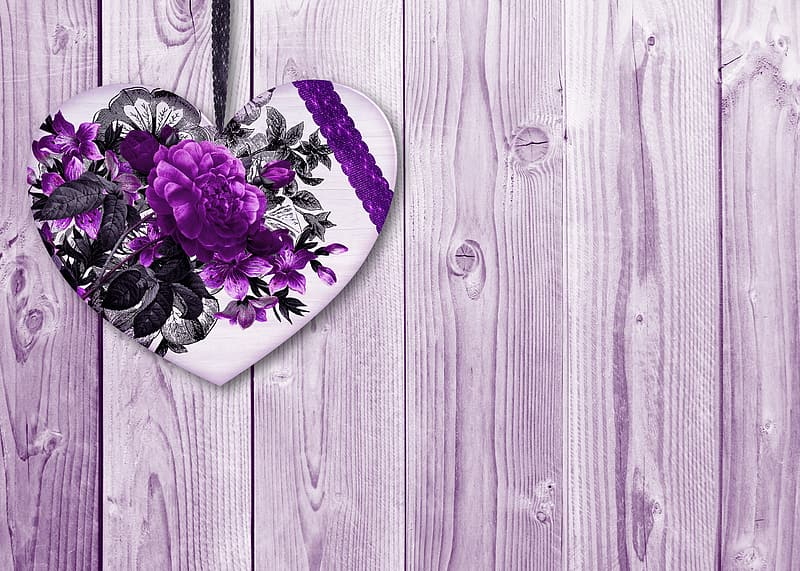 Purple and white floral heart ornament