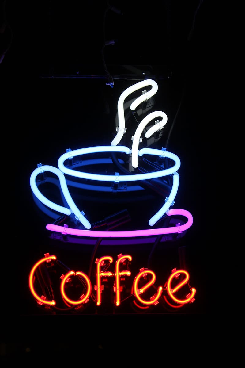 Turned-on blue and multicolored Coffee neon signage