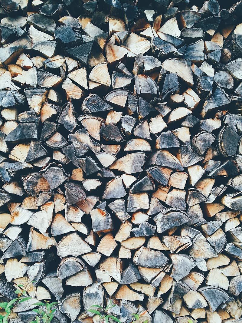 Brown and black firewood logs