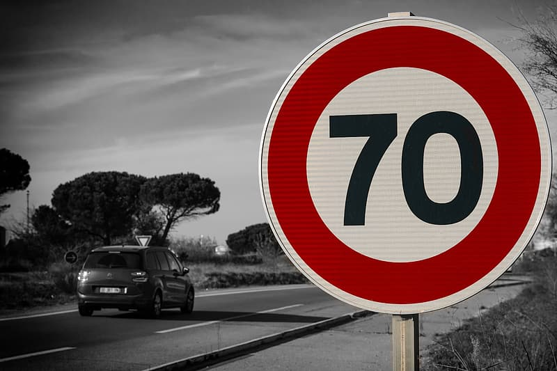 Rule of thirds photography of road sign