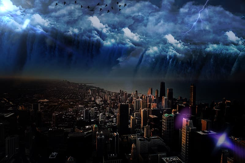 Aerial view of city buildings under cloudy sky with thunder