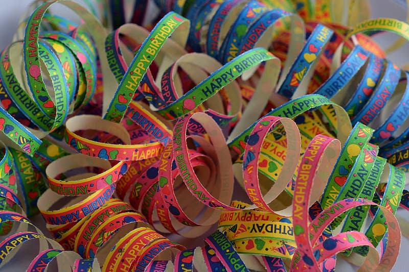 Assorted-color text-printed ribbons