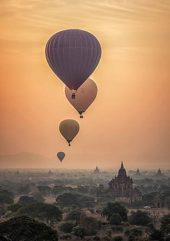 Five assorted-color hot air balloons