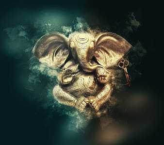 Illustration of gold Lord Ganesha figurine