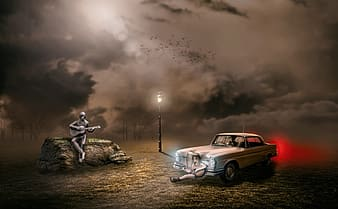 Two person playing guitars near car wallpaper photo