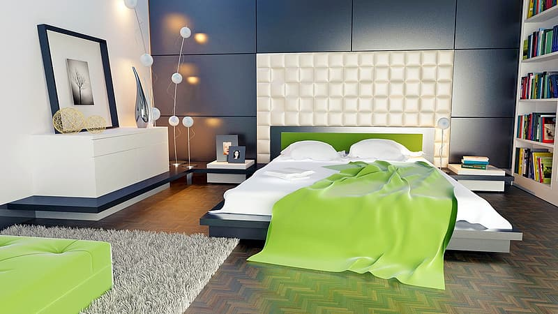 Green comforter on white bed