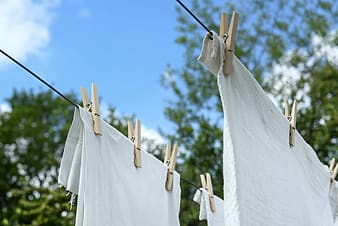 White fabric hanged on clothes line