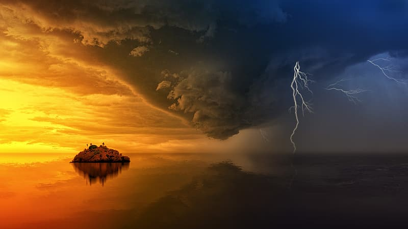 Timelampse photo of storm with lightnings about to land on water near island during golden hour