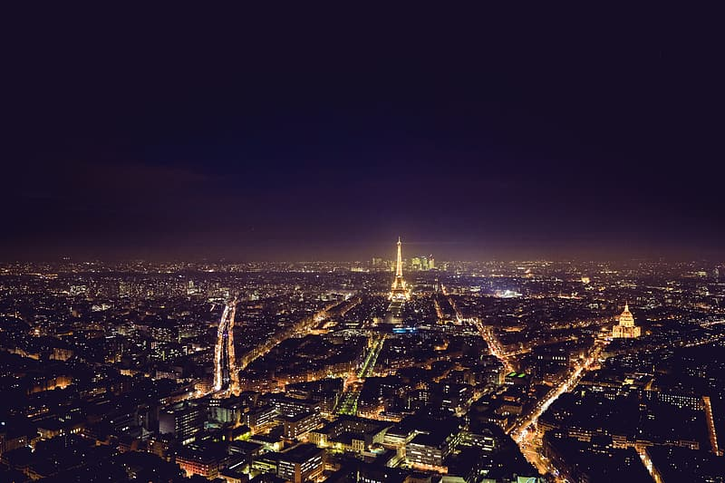 Night view over Paris in France with Eiffel Tower