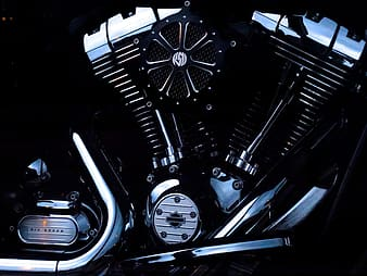 Black and silver motorcycle engine