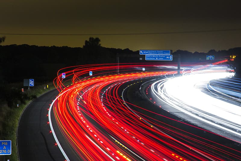 Timelapse photography of road