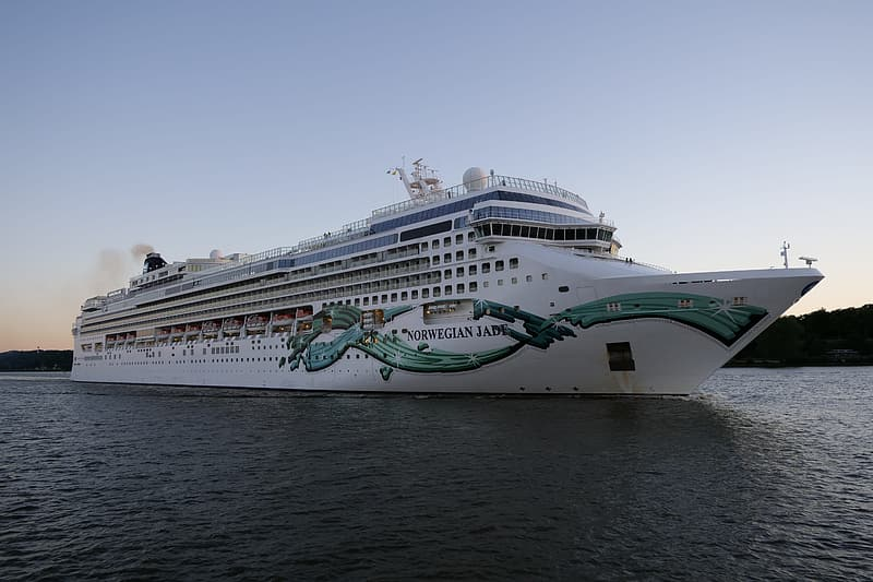 White and green cruise ship on sea under blue sky during daytime