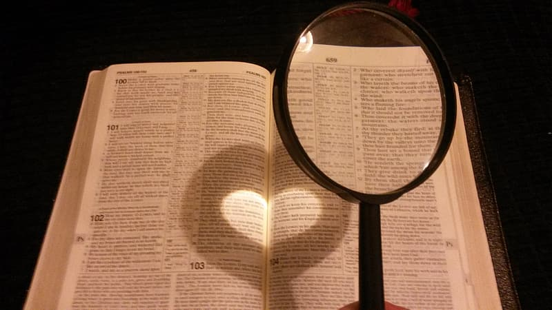 Person holding black handled magnifying glass near book page
