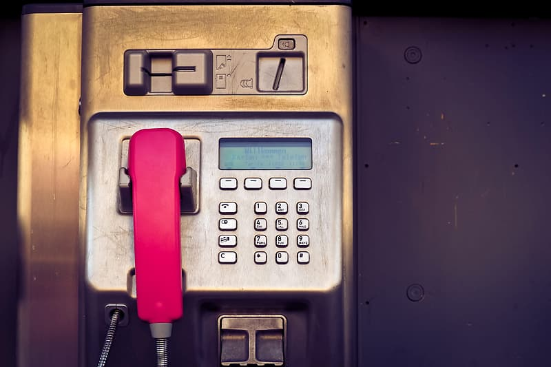 Red and gray payphone