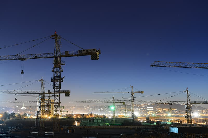 Cranes at night time